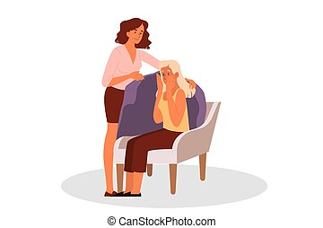 Woman comforting her crying friend. Psychologist support
