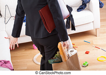 Woman coming home and see mess - Businesswoman back from...
