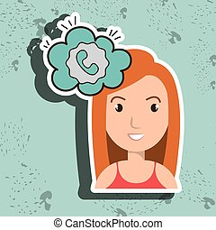 woman communication speak bubble vector illustration eps 10