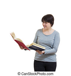 woman compare books