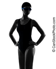 woman competition swimmer portrait silhouette