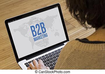 woman computer b2b marketing - marketing online concept: b2b...
