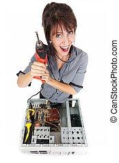 woman  computer crisis
