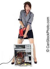 woman computer exterminator