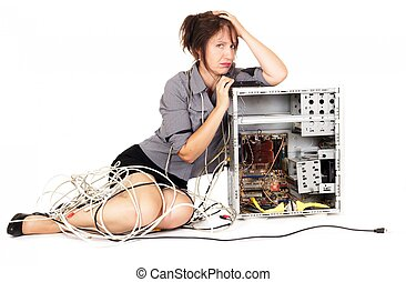 woman computer frustration