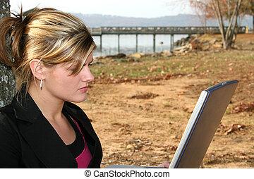 Woman Computer Park
