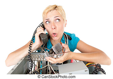 woman computer problems - confused woman phoning technology...