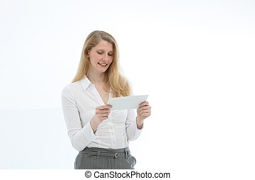 Woman concentrating reading a letter