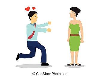 woman., concept, homme, beau, ou, harassment., séduction, ...