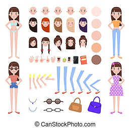 Woman Construction Collection Vector Illustration