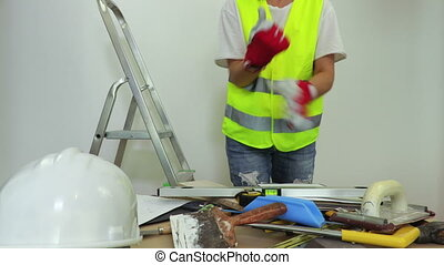 Woman construction employee start working
