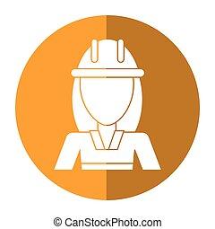 woman construction worker helmet shadow vector illustration...