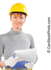 woman construction worker holding clipboard with sheet isolated