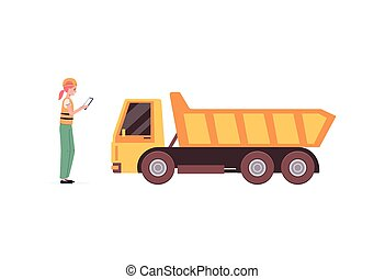 Woman constructor or quarry worker and truck, flat vector illustration isolated.