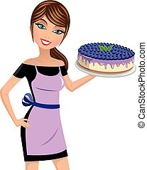woman cook cheesecake blueberries isolated