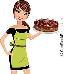 woman cook cheesecake raspberries chocolate isolated