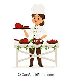 Woman cook chef presents luxury ham, restaurant catering vector illustration