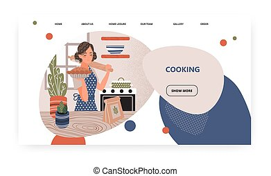 Woman cook pie in oven at home kitchen. Home cooking concept illustration. Vector web site design template. Landing page website illustration.