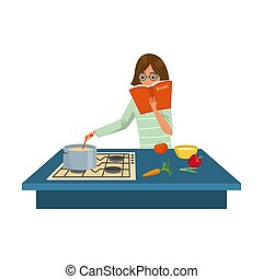 Woman cook reading recipes and cooking soup vector illustration