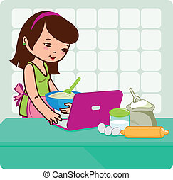 Woman cooking and looking at recipes.