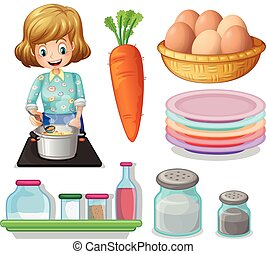 Woman cooking and other ingredients illustration
