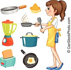 Woman cooking and other kitchen objects