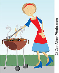 Woman cooking at BBQ outside