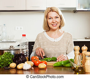 woman cooking at home kitchen