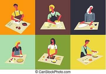 Woman cooking at kitchen vector faceless people