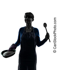 woman cooking cake pastry silhouette