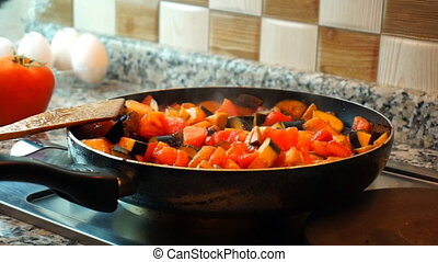 Woman cooking healthy food - Healthy food lifestyle:...