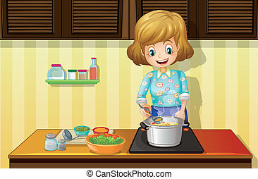 Woman cooking