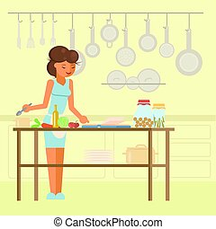 Woman cooking in kitchen vector flat illustration