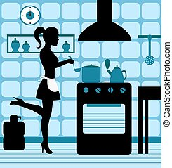 female silhouette standing at the stove in the kitchen cooking