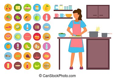 Woman cooking in the kitchen. Food and drinks icons. Stay at home. Coronavirus self-isolation