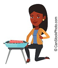 Woman cooking meat on barbecue.