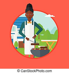 Woman cooking meat on barbecue grill.