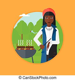 Woman cooking meat on barbecue vector illustration