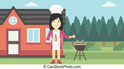Woman cooking meat on gas barbecue grill.