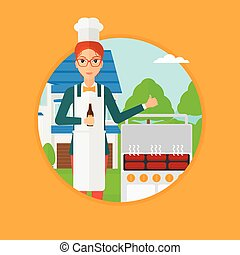 Woman cooking meat on grill.