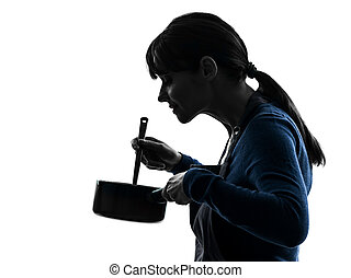 woman cooking mixing saucepan silhouette