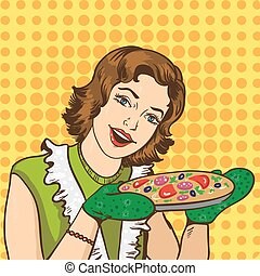 Woman cooking pizza at home. Vector illustration in retro comic pop art style