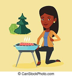 Woman cooking steak on barbecue grill.