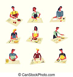 Woman cooking vector cartoon isolated icons