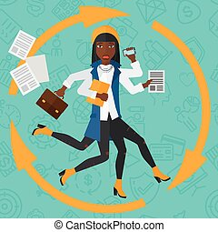 An african-american woman with many hands holding papers, suitcase, devices on a blue background with business icons vector flat design illustration. Square layout.