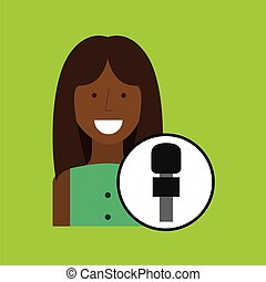 woman correspondent news world graphic vector illustration...