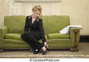 Woman Couch Home