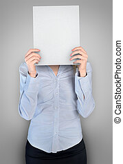 Woman cover face with board