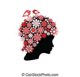 Woman covered with flowers and bird