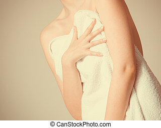 Woman covering breast under towel. - Shame and fear. Part...